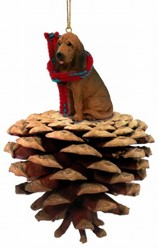 Pine Cone Bloodhound Dog Christmas Ornament