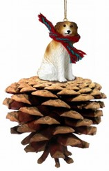 Pine Cone Borzoi Dog Christmas Ornament