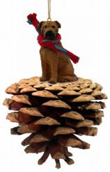 Pine Cone Bull Mastiff Dog Christmas Ornaments