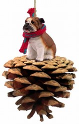 Pine Cone Bulldog Dog Christmas Ornament