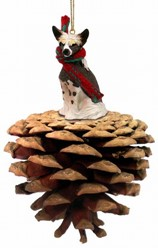 Pine Cone Chinese Crested Dog Christmas Ornament
