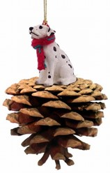 Pine Cone Dalmatian Dog Christmas Ornament