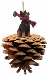 Pine Cone Doberman Dog Christmas Ornament