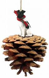Pine Cone Fox Terrier Dog Christmas Ornament