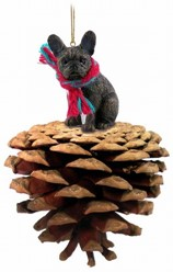 Pine Cone French Bulldog Dog Christmas Ornament