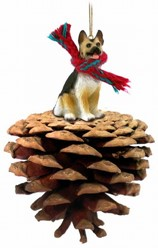 Pine Cone German Shepherd Dog Christmas Ornament