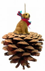 Pine Cone Golden Retriever Dog Christmas Ornament