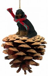 Pine Cone Gordon Setter Dog Christmas Ornament