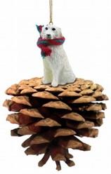 Pine Cone Great Pyrenees Dog Christmas Ornament