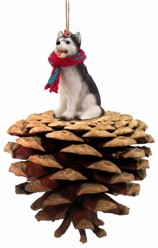 Pine Cone Siberian Husky Dog Christmas Ornament