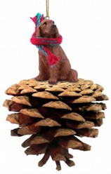 Pine Cone Irish Setter Dog Christmas Ornament
