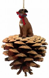 Pine Cone Italian Greyhound Dog Christmas Ornament