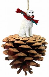 Pine Cone Kuvasz Dog Christmas Ornament