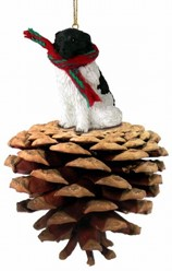 Pine Cone Landseer Dog Christmas Ornament