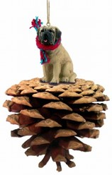 Pine Cone Mastiff Christmas Ornament