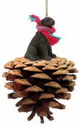 Pine Cone Newfoundland Dog Christmas Ornament