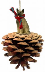 Pine Cone Norwegian Elkhound Dog Christmas Ornament