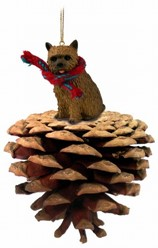 Pine Cone Norwich Terrier Dog Christmas Ornament
