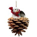 Pine Cone Old English Sheepdog Dog Christmas Ornament