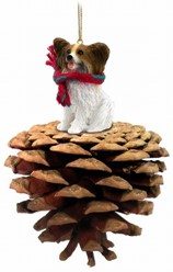Pine Cone Papillon Dog Christmas Ornament