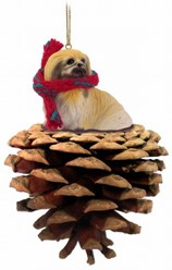 Pine Cone Pekingese Dog Christmas Ornament