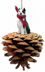 Pine Cone Pit Bull Dog Christmas Ornament