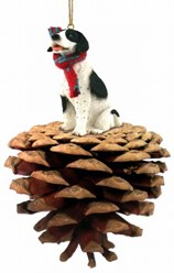 Pine Cone Pointer Dog Christmas Ornament