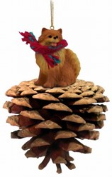 Pine Cone Pomeranian Dog Christmas Ornament