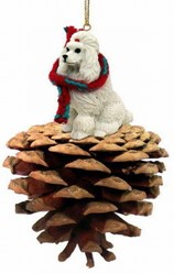 Pine Cone Poodle Dog Christmas Ornament