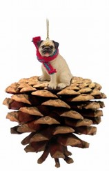 Pine Cone Pug Dog Christmas Ornament
