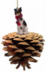 Pine Cone Rat Terrier Dog Christmas Ornament