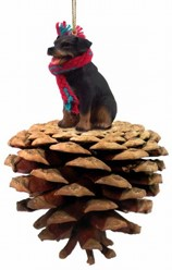 Pine Cone Rottweiler Dog Christmas Ornament