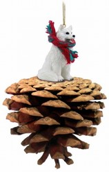 Pine Cone Samoyed Dog Christmas Ornament
