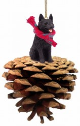 Pine Cone Schipperke Dog Christmas Ornament
