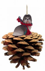 Pine Cone Shih Tzu Dog Christmas Ornament