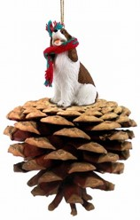 Pine Cone Springer Spaniel Dog Christmas Ornament