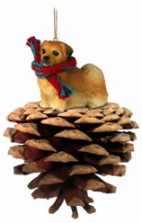 Pine Cone Tibetan Spaniel Dog Christmas Ornament
