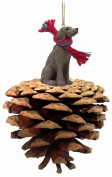 Pine Cone Weimaraner Dog Christmas Ornament