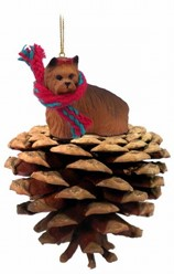 Pine Cone Yorkshire Terrier Dog Christmas Ornament