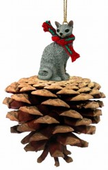 Pine Cone Cornish Rex Cat Christmas Ornament
