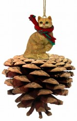 Pine Cone Orange Tabby Cat Christmas Ornament
