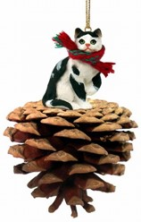Pine Cone Black and White Cat Christmas Ornament