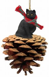 Pine Cone Black Cat Christmas Ornament