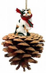Pine Cone Calico Cat Christmas Ornament