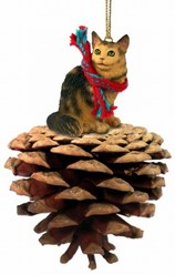 Pine Cone Maine Coon Cat Christmas Ornament