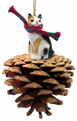 Pine Cone Japanese Bobtail Cat Christmas Ornament