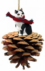 Pine Cone Manx Cat Christmas Ornament