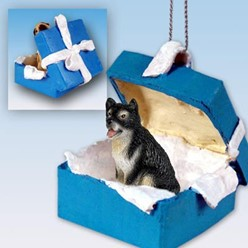 Alaskan Malamute Gift Box Holiday Ornament