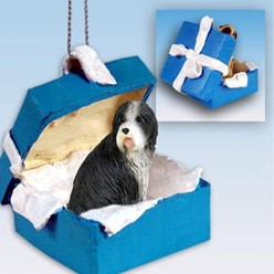 Bearded Collie Gift Box Holiday Ornament