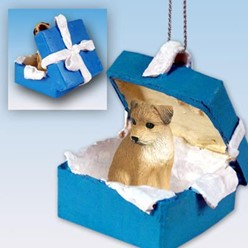 Border Terrier Gift Box Holiday Ornament